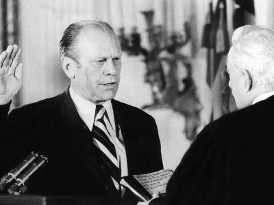Gerald Ford Takes the Oath of Office as the 38th President of the United States--Photo