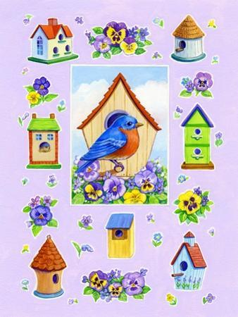 Bluebird and Pansies by Geraldine Aikman