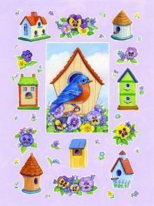 Bluebird and Pansies by Geraldine Aikman