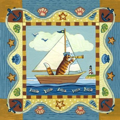 Folk Art Cat Sailing by Geraldine Aikman
