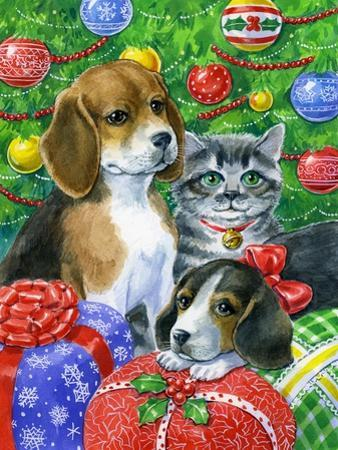 Puppies and Kitten under the Tree by Geraldine Aikman