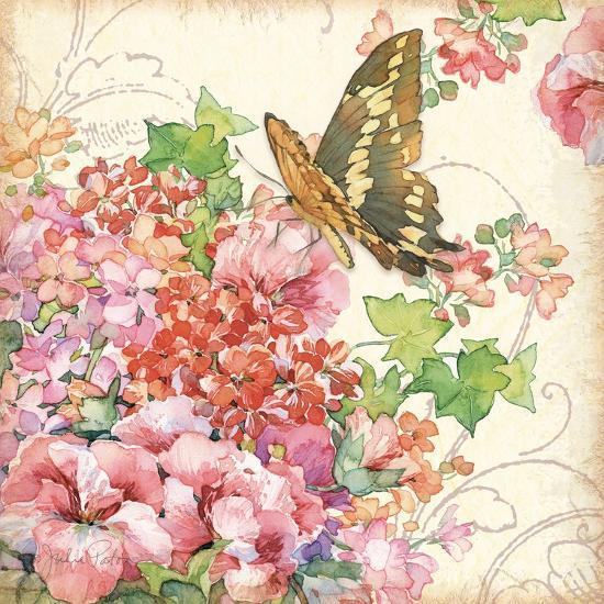 Geranium & Butterflies-Julie Paton-Art Print