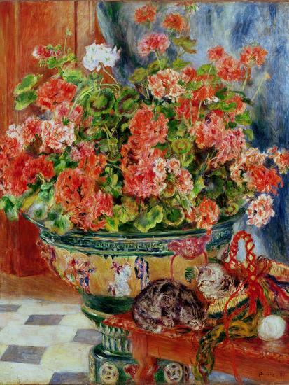 Geraniums and Cats, 1881-Pierre-Auguste Renoir-Premium Giclee Print