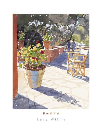 Geraniums and New Chairs-Lucy Willis-Art Print
