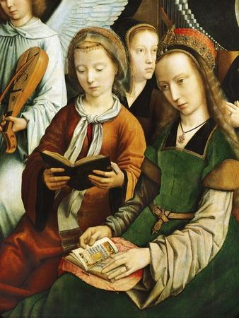 Saint Barbara and Saint Cecilia Reading, Detail from Virgin Among Virgins, 1460