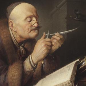 Scholar Sharpening a Quill Pen by Gerard Dou