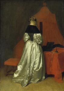 Lady in a Golden Dress in Front of a Bed with Red Curtains, C. 1655 by Gerard ter Borch