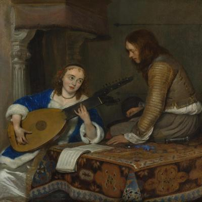 A Woman Playing the Theorbo-Lute and a Cavalier, c.1658