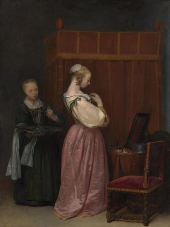 A Young Woman at her Toilet with a maid, c.1650-51