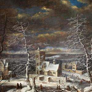 A Village in Winter in an Extensive Landscape with Figures on the Ice by Gerard van Edema