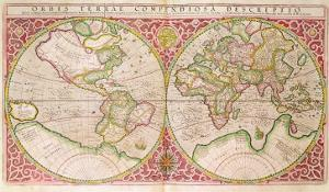 Double Hemisphere World Map, 1587 by Gerardus Mercator
