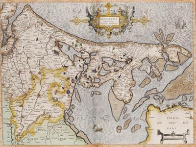 Engraved, Hand Colored Map of Holland, 1595