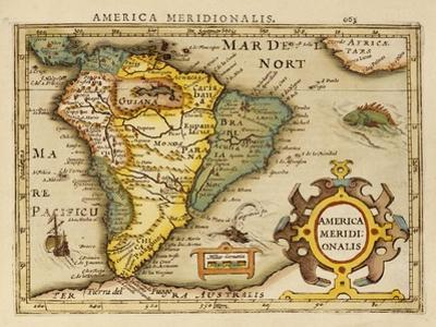 Hand Colored Engraved Map of South America, 1610