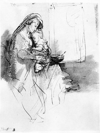 Mother and Child, C.1638 (Pen, Ink and Wash on Paper)