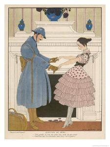 French Soldier Returns Home from the Front and Receives a Warm Welcome from His Loved One by Gerda Wegener