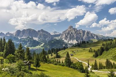 Alp Close Corvara, 'Puezgruppe' (Mountain Range) Behind, the Dolomites, South Tyrol, Italy, Europe