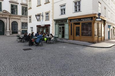 Europe, Austria, Vienna, Franciscan Square, Small Cafe