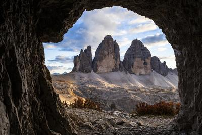Europe, Italy, South Tyrol, the Dolomites, Tre Cime Di Lavaredo, View from War Tunnel