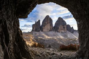 Europe, Italy, South Tyrol, the Dolomites, Tre Cime Di Lavaredo, View from War Tunnel by Gerhard Wild