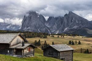 Europe, Italy, the Dolomites, South Tyrol, Seiseralm, Langkofel and Plattkofel, Alpine Huts by Gerhard Wild