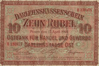 German 10 Rouble Banknote for Use in Occupied Russian Territory, World War I, 1916--Giclee Print