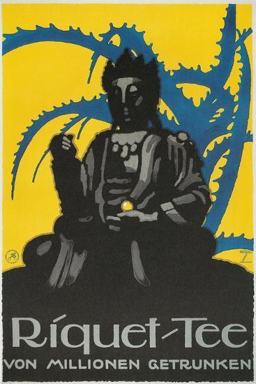 German Advertisement for Riquet Tea, Buddha and Thorn Bush--Giclee Print