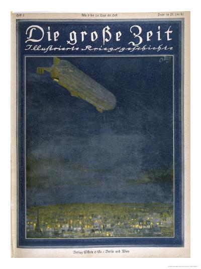 German Airship Hovers Menacingly Over Paris-Rodolf Czerny-Giclee Print
