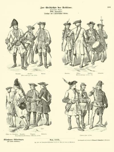 German and Austrian Military Uniforms, 18th Century--Giclee Print