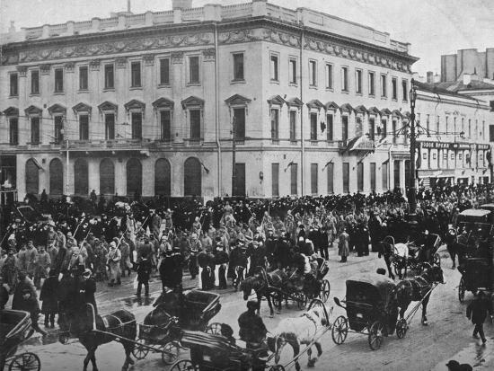 'German and Austrian prisoners being marched through the streets of Petrograd', 1915-Unknown-Photographic Print
