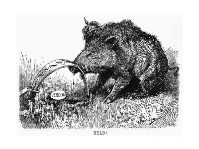 German Boar Held at Verdun - Cartoon-L. Raven Hill-Giclee Print