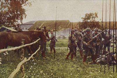 German Cavalry Preparing to Go Out on Patrol, World War I, 1914-1916--Photographic Print