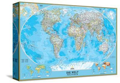 German Classic World Map-National Geographic Maps-Stretched Canvas Print