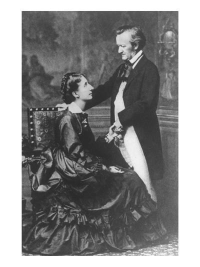 German Composer and Poet Richard Wagner, 1813-1883, with Second Wife Cosima--Photographic Print