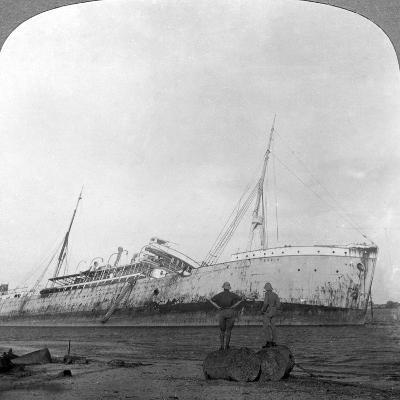 German Cruiser Sunk Off Dar Es Salaam, Tanzania, World War I, 1914-1918--Photographic Print