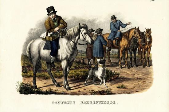 German Farm Horses, 1824-Karl Joseph Brodtmann-Giclee Print