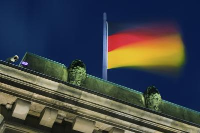 German Flag Flying from the Reichstag-Jon Hicks-Photographic Print