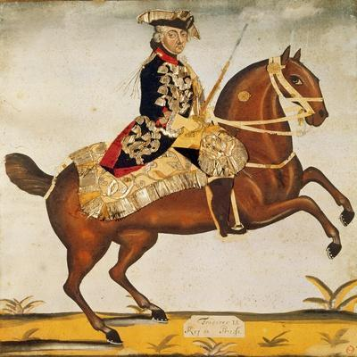 Frederic Ii the Great (1712-1786) King of Prussia (Watercolour and Gold Leaf)
