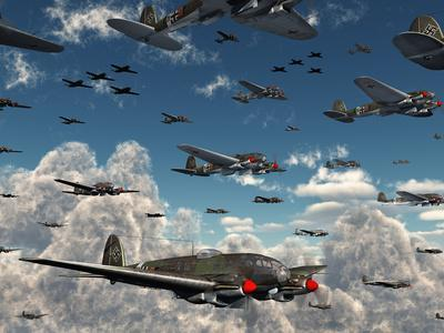 German Heinkel He 111 Bombers Gather over the English Channel-Stocktrek Images-Photographic Print