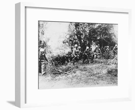 German Infantry in Gas Masks WWI-Robert Hunt-Framed Photographic Print
