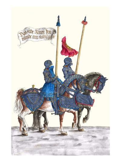 German Knights in Horseback in Procession-H. Burkmair-Art Print