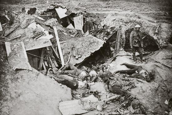 German machine-gun emplacement destroyed by British artillery fire, France, World War I, 1916-Unknown-Photographic Print