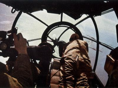 German Machine-Gunner in the Cockpit of a Bomber, Probably a Heinkel He-111-Unsere Wehrmacht-Photographic Print