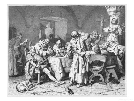 German Monks Entertain a Visitor with the Wine of the Cloister-W. Grubner-Giclee Print