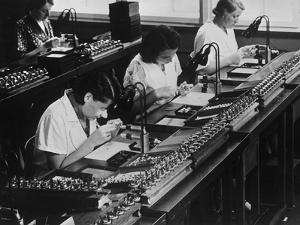 Assembly Line for Television Broadcasting Equipment at the Telefunken Manuf by German photographer