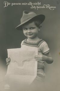 Postcard of a German Boy, Reading Newspaper, 1913 by German photographer