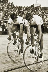 Toni Merkens and Albert Sellinger Starting the 1000 Metre Bike Race at the Berlin Olympic Games,? by German photographer