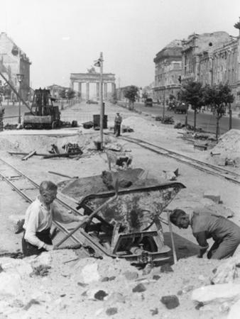 "Truemmermaenner (""Rubble Men"") at Unter Den Linden, Berlin, June 1946 by German photographer"