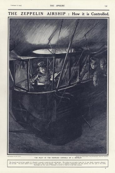 German Pilot in the Forward Gondola of a Zeppelin, World War I-Philip Dadd-Giclee Print