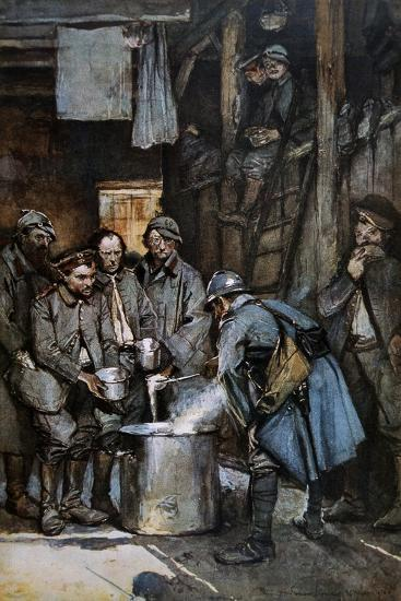 German Pows in French Hands at Souville Receive Food Rations, 1916--Giclee Print