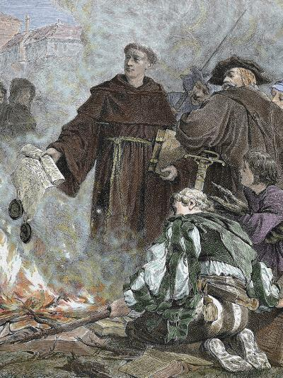 German Reformer, Luther Burning the Papal Bull 'Exsurge Domine' (1520) of Pope Leo X-Prisma Archivo-Photographic Print